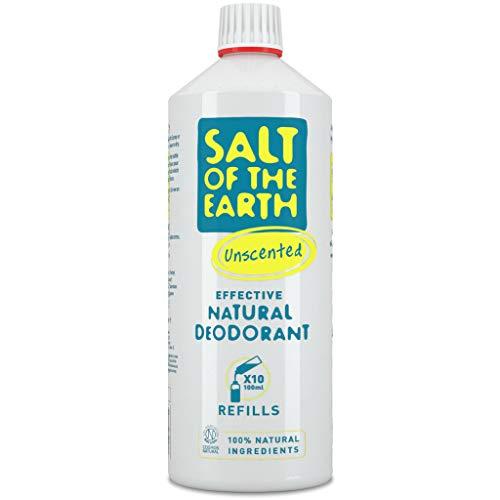 Desodorante natural en spray de Salt of the Earth, sin perfume, vegano, protección de larga duración, aprobado por conejo, fabricado en el Reino Unido, 1 litro