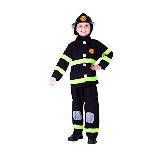 Award winnende luxe brandweer aankleden kostuum set Ages 4-6 (Waist 28-30 Inch, Height 39-45 Inch) Zwart