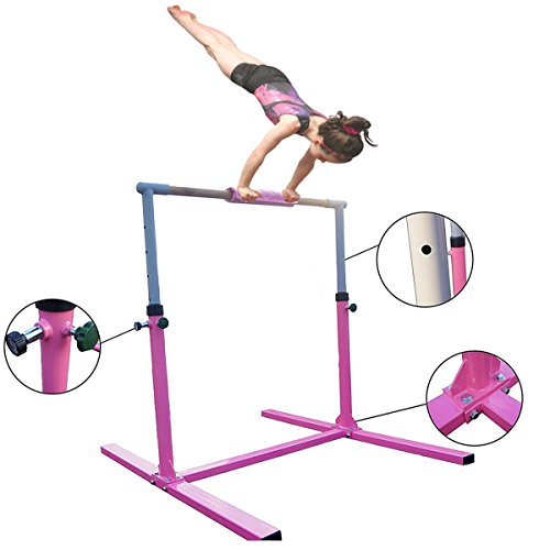 Seababyhouse 4ft Gymnastik turnreck Kinder Junior Kip-bar Gymnastik Kinder Trainingsgeräte horizontal einstellbar, höhenverstellbare [Kid Gymnastics Training Bar] (Rose)