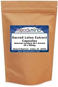 Sacred Lotus 50:1 Extract Capsules 500mg (Nelumbo nucifera) (30 ct)