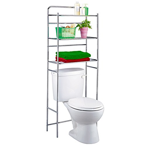 Tatkraft Tanken-Estanteria WC con estantes para baño, metal cromado, 59.5 x 26 x 151.5cm