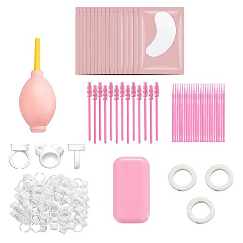 SUMEITANG 455 Pieces Eyelash Extension Supplies kit including Disposable Mascara Brushes.Cotton Swabs.Eye Pad Stickers.Cup Rings. Silicone Eyelash Pad.eyelash tapes