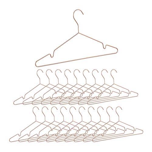 Relaxdays 20 x Kleiderbügel roségold, dünn, Elegante Drahtbügel für Tops, glänzende Bügel, platzsparende Metallbügel, Kupfer
