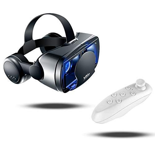 CoverTpu VR Brille Virtual Reality Brille kompatibel mit 5-7'' iPhone & Android 3D VR Brille mit Kopfhörer und Bluetooth Controller, HD Virtual Reality Anti Blu-ray-Linse - für 3D Film und Spiele