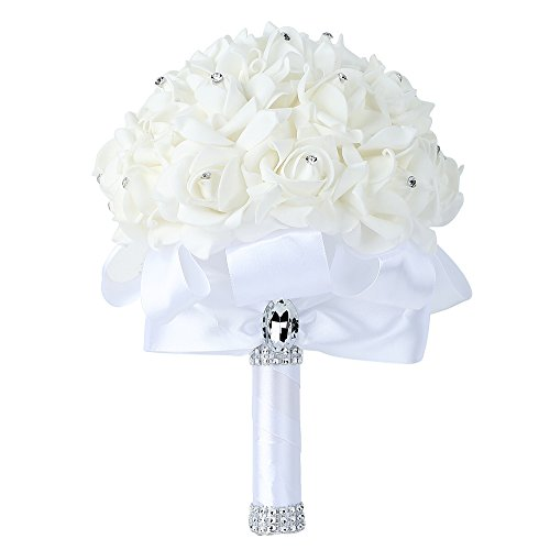 Febou Wedding Bouquet, Big Size White Bridesmaid Bouquet Bridal Bouquet with Crystals Soft Ribbons, Artificial Rose Flowers for Wedding, Party and Church (White-Bigger Size)