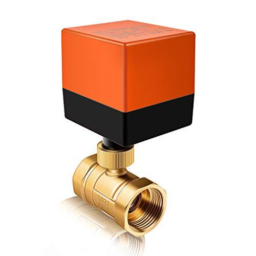 Miafamily Elektrisches Ventil Absperr Umschalt Kugelventil Messing Absperrhahn 2 Wege,DN25 G1 Zoll, AC 230V, für Flusssteuerung Zonenventil Kugelventil