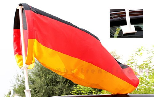 Trendfinding Autokorso Autofahne Autoflagge Windhose Deutschland Fussball WM 2018 Fahne Flagge Windsack schwarz rot Gold