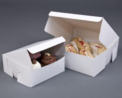 Juego de 10 cajas de cartón plegables para repostería (15,24 x 15,24 x 6,35cm), color blanco, perfectas para bodas, cumpleaños o llevar magdalenas