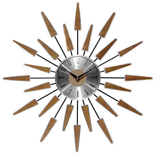 Infinity Instruments Wall Clock 24 inch Satellite Starburst Clock Midcentury Modern Wall Clock Satellite Wall Clock Home…