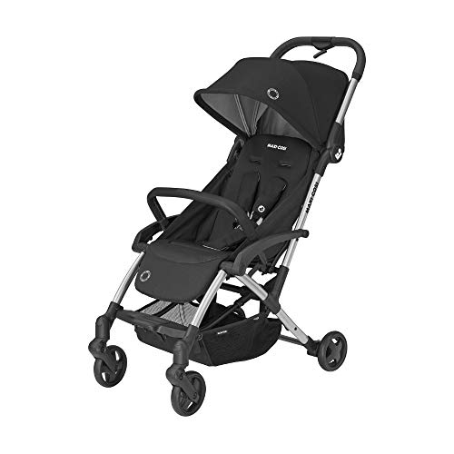Maxi-Cosi Laika 2 Cochecito bebé plegable con una sola mano, ligero y compacto, hamaca alta y reclinable con posición para dormir, burbuja de lluvia includida, essential black