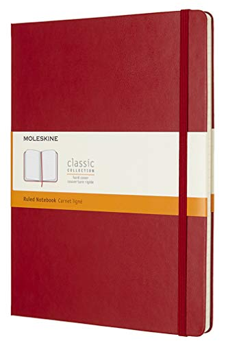 Moleskine Classic Notebook, Hard Cover, XL (7.5' x 9.5') Ruled/Lined, Scarlet Red, 192 Pages
