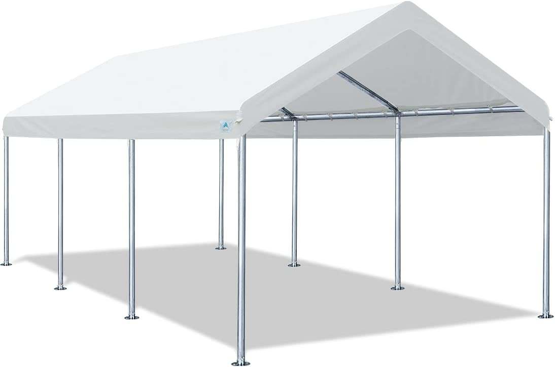 Amazon Com Advance Outdoor Adjustable 10x20 Ft Heavy Duty Carport Car Canopy Garage Boat Shelter Party Tent Adjustable Height From 9 0ft To 10 5ft White Garden Outdoor