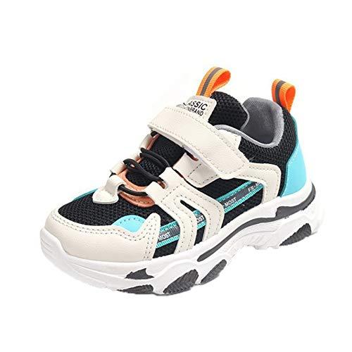 Zapatillas de Deporte para niños Malla Transpirable Mezcla de Colores Zapatillas de Deporte Planas Bajas para niños y niñas Suela Suave Antideslizante Zapatos Deportivos Casuales para Caminar