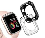 Goton Compatible iWatch Apple Watch Edge Case 38mm Series 3 2 1 [No Screen Protector] , (2 Packs) Soft TPU Shockproof Edge Case Cover Bumper Protector (Black and Clear, 38mm)