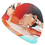 Swim Cap Beautiful African American Woman with Curly Afro Swimming Hat for Adult Unisex Bathing Cap Swimming Pool Big Head Hair for Men Women White