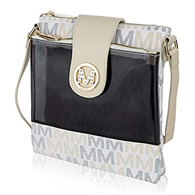 Mia K. Collection Crossbody Bags for women - Adjustable Strap - Vegan Leather - Crossover Side Messenger Womens Purse White