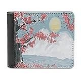 Cartera de piel para hombre y mujer, diseño de flores de cerezo japonés, con cierre a medida, regalo para amigas, blanco, talla única,
