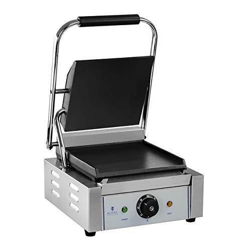 Royal Catering Machine À Panini Grill Appareil Toaster Croque-Monsieur Professionnel Professionnelle RCKG-1800-F (30-300 °C, 1 800 W, Collecteur De Graisse, Boitier INOX, Plaques Fonte Émaillée)