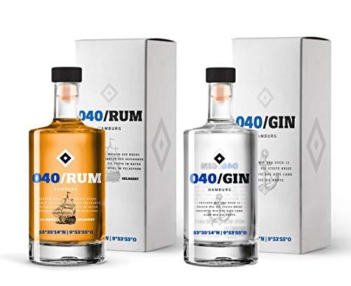 Vorteilspaket - 040 Gin & 040 Rum inkl. Geschenkverpackungen - Produkte des HSV - fruchtiger 040 Gin & 15 jähriger karibischer 040 Rum (2 x 0,5l)
