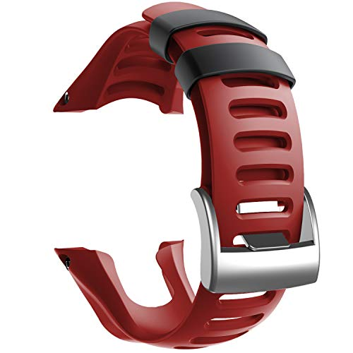 NotoCity Compatible con Correa Suunto Ambit 3, Silicona Reloj de Recambio Brazalete Correas para Suunto Ambit 3 (Hebilla de Plata, Rojo)