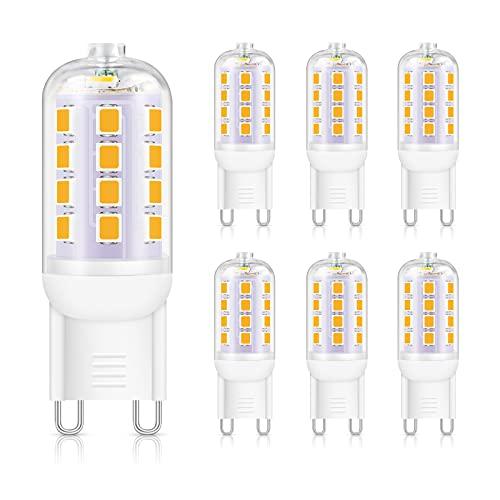 Unicozin 6er Pack 5W G9 LED Lampen 450LM, Ersetzt 40W Halogenlampen, Warmweiß (2900K), Kein Flackern G9 LED Leuchtmittel LED Glühbirne, Nicht Dimmbar, AC 220-240V