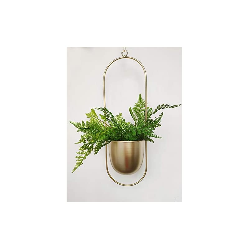 silk flower arrangements riseon boho gold metal plant hanger,metal wall and ceiling hanging planter, modern planter, mid century flower pot plant holder, minimalist planter for indoor outdoor home decor (oval shape, gold)