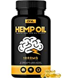 Hemp Oil Capsules 1000MG - Premium Organic Capsules Reduce Pain, Anxiety, and Stress (60 Vegetarian Liquid Capsules) - Best All Natural Omega 3, 6, 9 Brain Boost Supplement, Memory, Focus, Clarity.