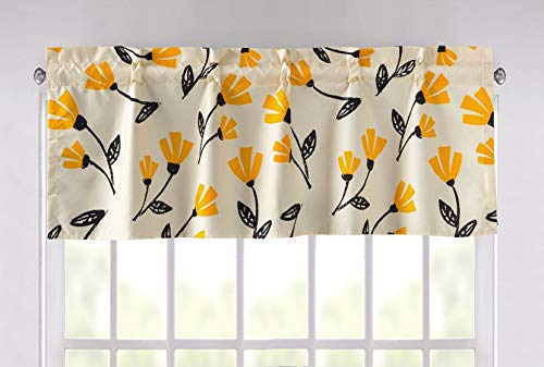 """DaDa Bedding Sunshine Yellow Fleur Window Curtain - Semi Sheer Valance Country Farmhouse Pale Ivory Yellow Background Floral Pattern Straight Tailored Edge - 18"""" x 52"""""""