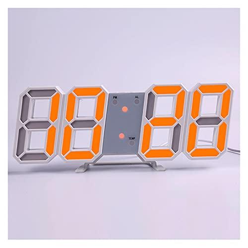 SPFCJL LED Digital Reloj de Pared Alarma Fecha Temperatura Automático Retroiluminación Mesa Mesa Desktop Decoración del hogar Soporte Soporte Relojes de suspensión (Color : Wall Clock 3)