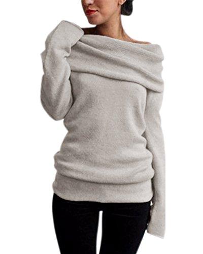 Style Dome Pullover Damen Revers Schulterfrei Tunika Langarmshirt Stricken Bluse Langarm Solid Khaki-745936 S