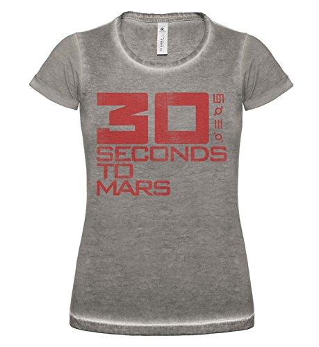 LaMAGLIERIA Damen T-Shirt Vintage Look 30 Seconds to Mars Logo Grunge Print Cod. Grpr0003 - Frauen Vintage DNM Plug-in T-Shirt mit Rock Vorderdruck, Small, Grey Clash