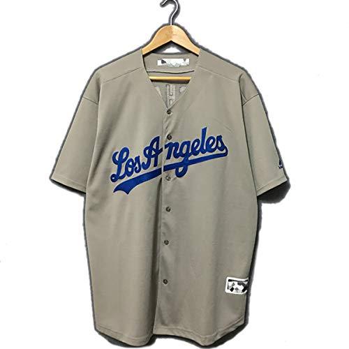 Herren Baseballuniform, Dodgers Nr. 8 Machado geknöpftes Hemd mit Mann/Frau Bestickt mit Team/Ihrem Namen und Ihrer Nummer-Grey-M