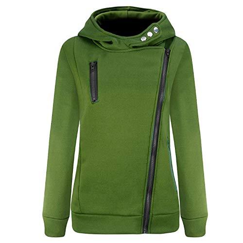 GOKOMO Jacke Damen Sweatjacke Hoodie Sweatshirtjacke Pullover Oberteile Kapuzenpullover Reißverschluss Herbst und Winter Warm(Grün,Medium)