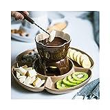 TTXP Fondue de Chocolate con Queso de Cerámica para Ice Cream Home Cafe, Velas Melting Pot Fondue Set,Brown-OneSize