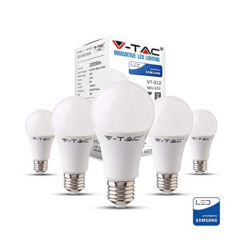 V-TAC 9W (60W) Energiebesparende Classic A-serie thermokunststof LED-lamp met Samsung Chip E27 ES (Edison-schroefdraad) [Energie-efficiëntieklasse A+] 5-pack