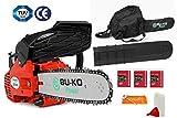 BU-KO Scie à chaîne essence 26 CC, poignée légère | 3 chaînes et barre de 10'incluses | Housse de protection et équipement de sécurité complet