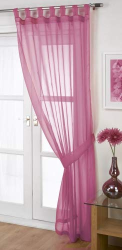 John Aird Woven Voile Tab Top Curtain Panel - Free Tieback Included (Fuchsia, 60' Wide x 48' Drop)