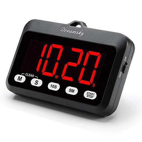 DreamSky Digitaler Timer mit großem klarem Display, Count-Down/Stoppuhr-Funktion, magnetische Rückseite, batteriebetrieben, einfach zu bedienen
