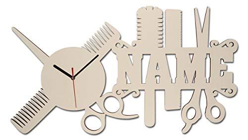 Spezial Holz Wand-Uhr Friseur-Geschenk Schere lustige witzige Haar-Schneide Frauen-Geschenke mit Namen individuell für Freund-in Friseure Friseur-Salon Haar-Studio Stylist-en Zubehör personalisiert