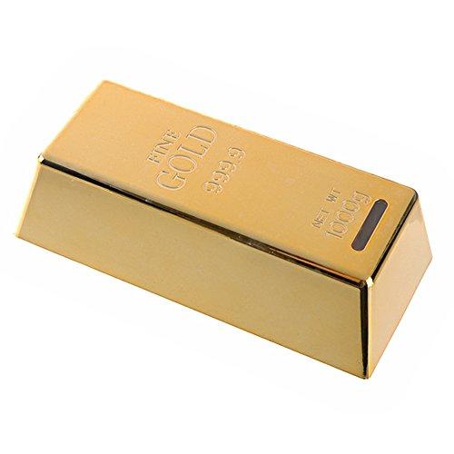 WINOMO Spardose Goldbarren, Gold Barren Sparbüchse mit Schlüssel und Schloss (Golden)