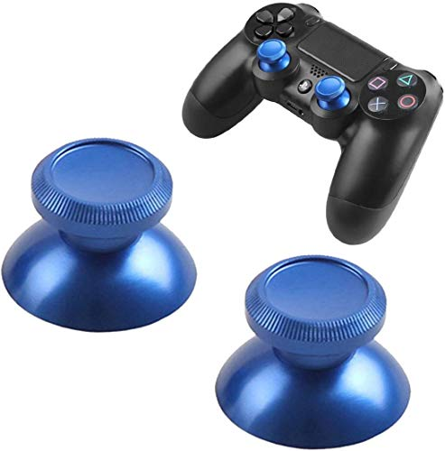 2 PCS Metal Aluminum Replacement Thumbsticks Joystick Thumb Grip Stick for Ps4 Xbox One Game Controller (Blue)