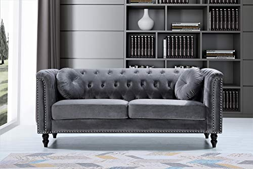 "Container Furniture Direct Kittleson Mid Century Velvet Upholstered Nailhead Chesterfield Sofa, 75.98"", Grey"