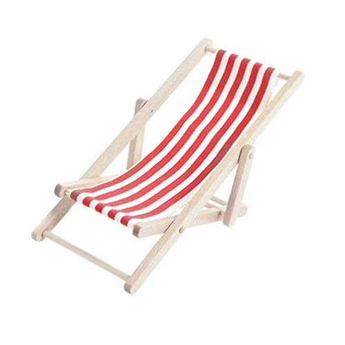 STOBOK Mini Beach Chair 1:12 Miniature Furniture Dollhouse Accessories Outdoor Ornament for DIY Fairy Garden Dollhouse (Red)