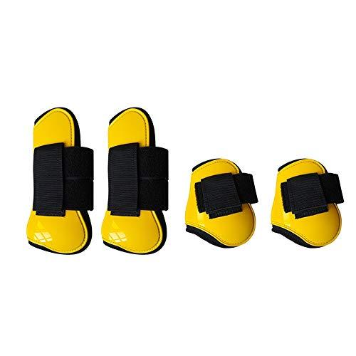 Domilay Botas de Pata de Caballo Delanteras Traseras Ajustables Protector de Pata Delantera Equina Protección del Tendón Ecuestre Soporte de Corvejón de Caballo Amarillo