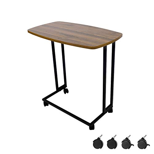 Moncot Mesa de centro rectangular moderna con estructura de metal negro, mesa de café, mesa de salón con madera de nogal vintage con 4 ruedas, para salón o dormitorio ET220B-WN