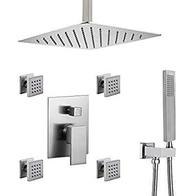 """ENGA Shower System Ceiling Shower Faucet Set with 12"""" Rain Shower Head Set and Body Jets"""