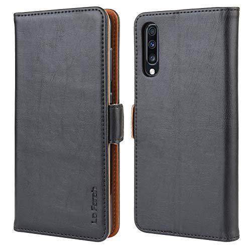 La Farah Handyhülle für Samsung Galaxy A70 Hülle, PU Leder Flip Schutzhülle für Samsung Galaxy A70 Tasche, Schwarz