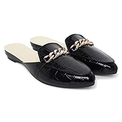 Women's Fashion Comfortable Slip-on Chain Decorated Loafers Bellies Low Heels Almond Toe Casual Daily Mule Sandals