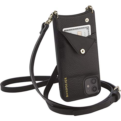 Bandolier Emma Crossbody Phone Case and Wallet - Black Leather with Gold Detail - for iPhone Xs Max