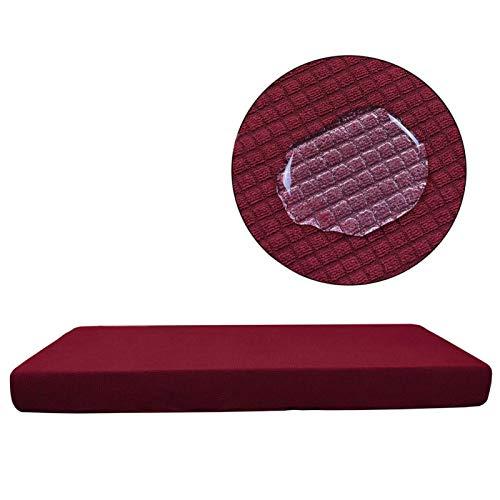 Kuuleyn Funda de sofá, Funda Impermeable para sofá, Funda para Silla, Fundas de poliéster para Asientos de sofá, Funda Impermeable Lavable para sofá de Cuero, decoración del hogar(Burgundy 4 Seats)